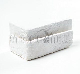 Угловые элементы декоративный кирпич Шамотный белый