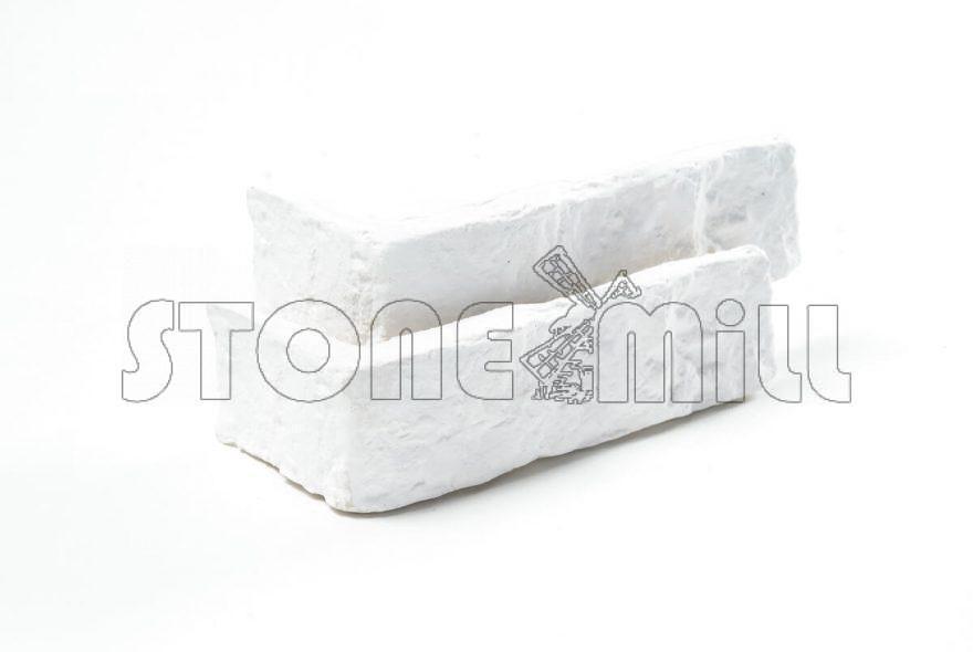 Угловой декоративный кирпич Старый белый
