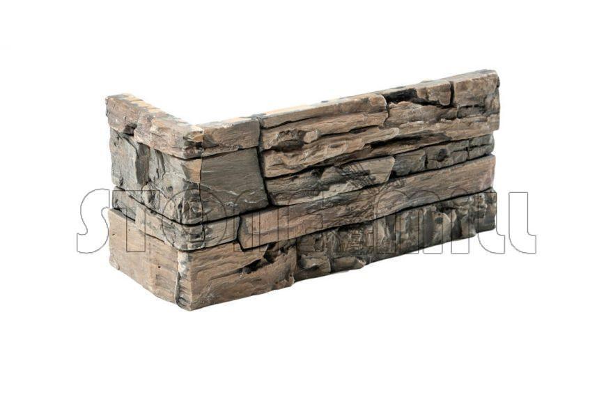 Угловой декоративный камень СТОУНВУД коричневый